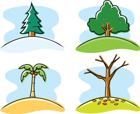 Een verscheidenheid aan cartoon bomen die de vier seizoenen.
