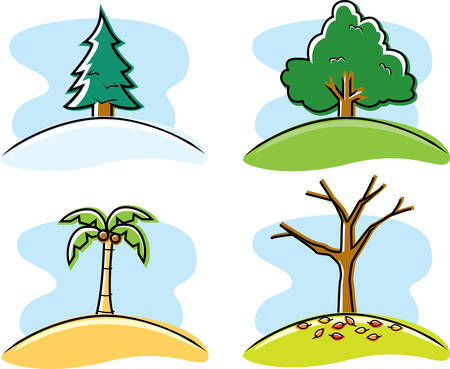 A variety of cartoon trees representing the four seasons.
