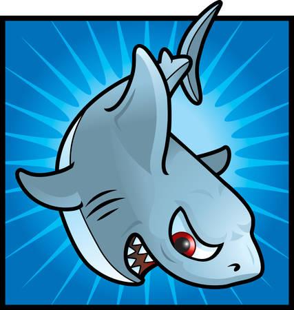 cartoon shark: A cartoon gray shark with an angry expression.