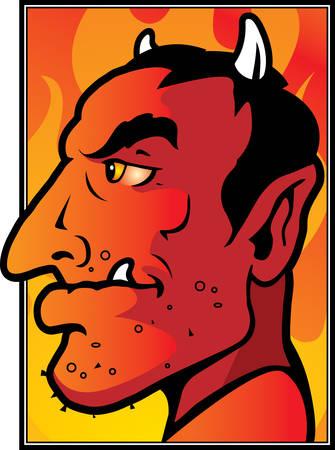 A cartoon red devil with horns. Ilustração