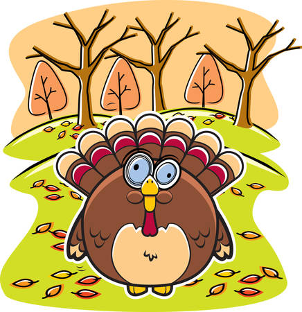 gobbler: A cartoon fat turkey in the forest in the fall.