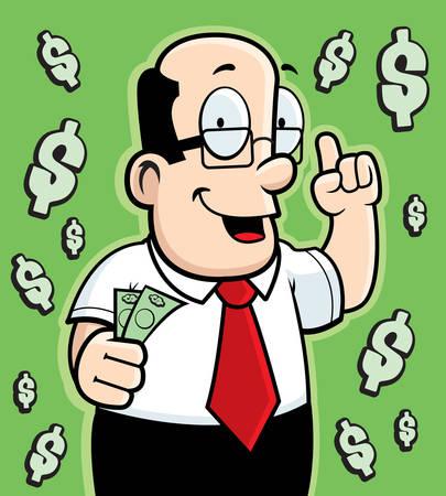 A cartoon man talking about money.