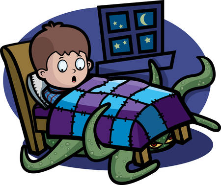 under the bed: A cartoon child in bed with a monster under it. Illustration