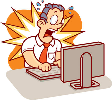 meltdown: A cartoon man stressed at work on his computer.
