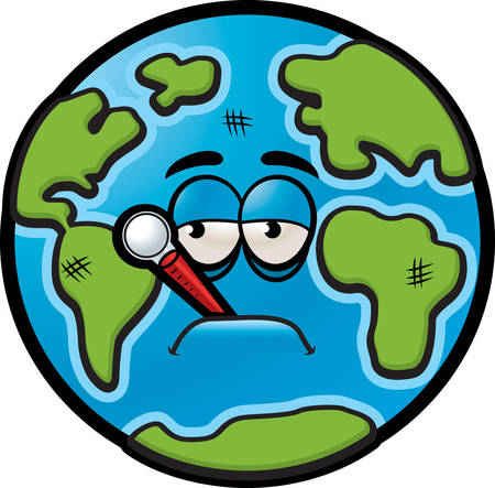A sick cartoon Earth with a thermometer in his mouth.
