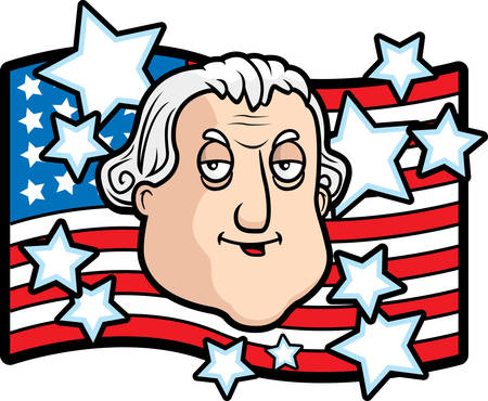 A cartoon George Washington in front of an American flag. Ilustrace