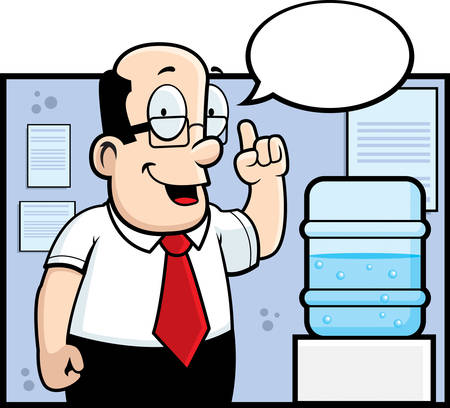 A cartoon man standing next to the water cooler.