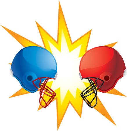 Two rival football helmets clashing together.