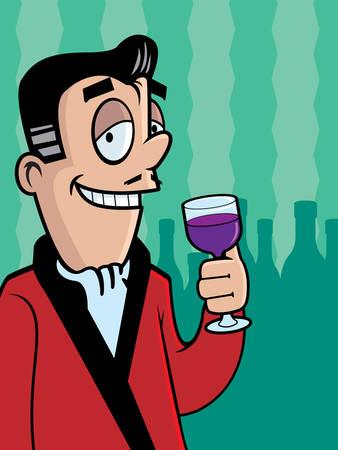 A cartoon man with a glass of wine. 向量圖像