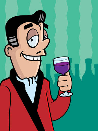 playboy: A cartoon man with a glass of wine. Illustration