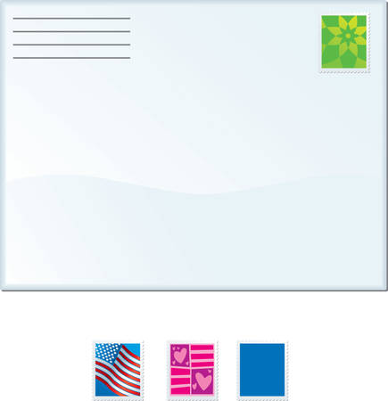 An illustration of several stamps and an envelope. Ilustracja