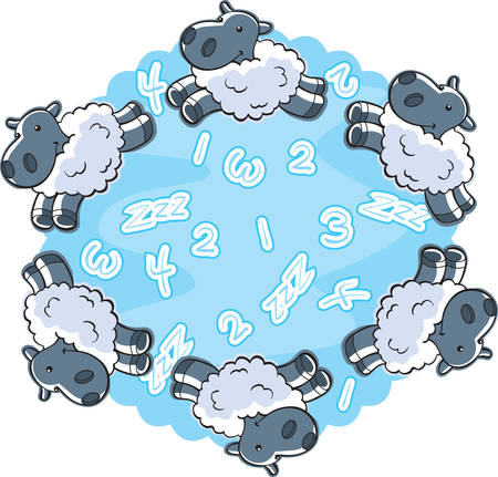 A cartoon illustration of counting sheep. Иллюстрация