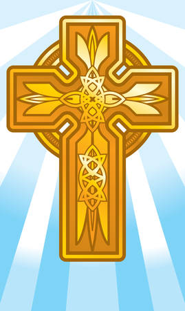 An illustration of a gold cross Ilustrace