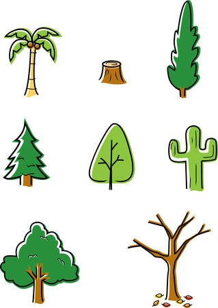A variety of different kinds of cartoon trees. Illustration