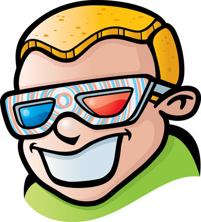 A smiling cartoon boy with 3D glasses.