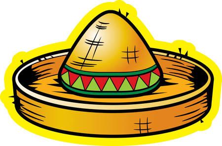 A cartoon yellow straw sombrero illustration.
