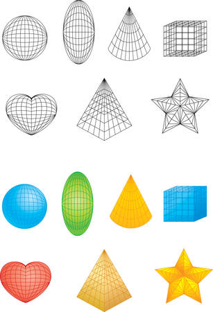 A variety of different colored geometric shapes.