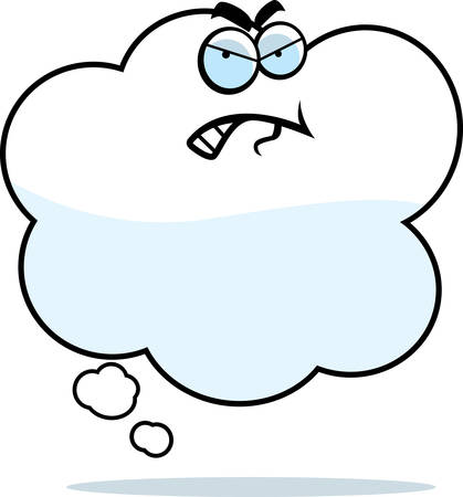 thought balloon: A cartoon thought balloon with an angry expression.