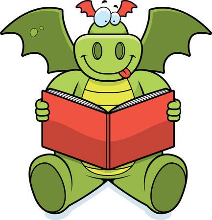 A happy cartoon dragon reading a book.