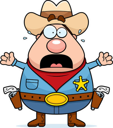 cowboy gun: A cartoon sheriff with a scared expression. Illustration
