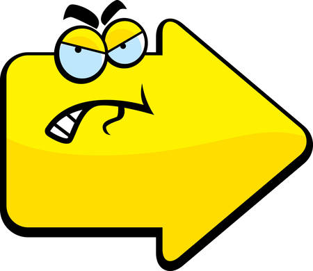 A cartoon yellow arrow with an angry expression. Ilustracja