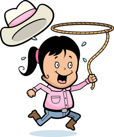 cowgirl boots: A happy cartoon girl with a lasso.
