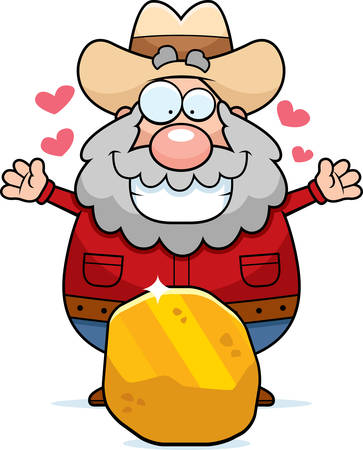 A happy cartoon prospector with a gold nugget. Vectores