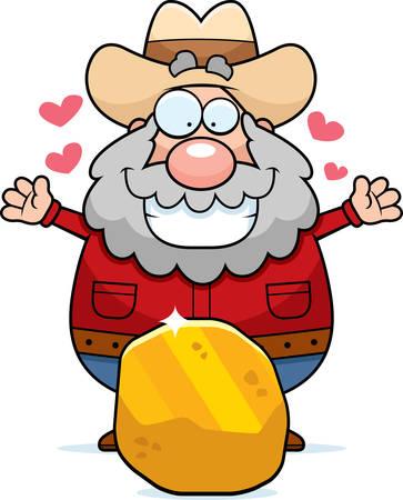 prospector: Un buscador de dibujos animados feliz con una pepita de oro.