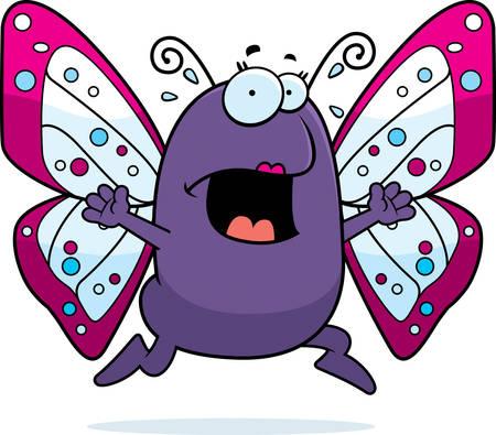 fleeing: A cartoon butterfly running in a panic.