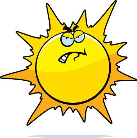 hostile: A cartoon sun with an angry expression.