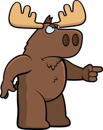 Een cartoon eland met een boze uitdrukking. Stock Illustratie