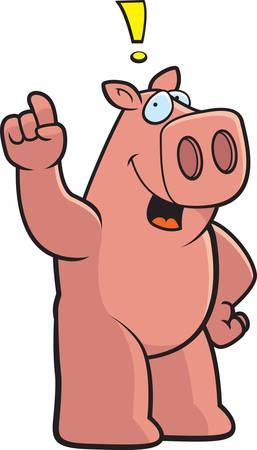 eureka: A happy cartoon pig with an idea.