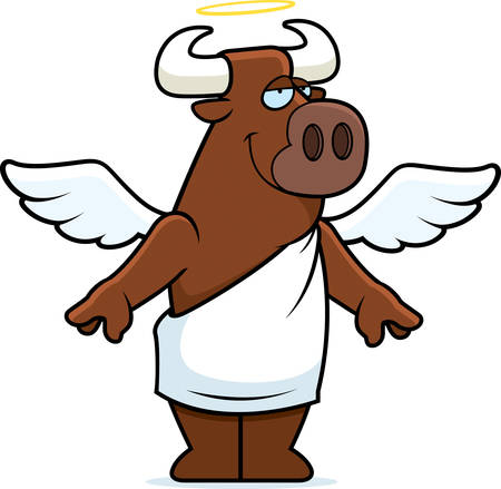 halo: A happy cartoon holy cow with angel wings and halo. Illustration