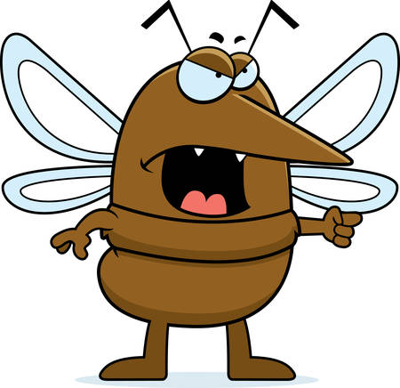 cartoon insect: A cartoon mosquito with an angry expression.