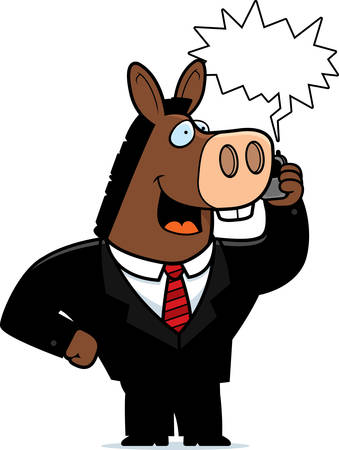 obnoxious: A cartoon donkey in a suit talking on a cell phone. Illustration