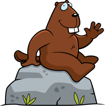 greet: A happy cartoon beaver sitting on a rock. Illustration
