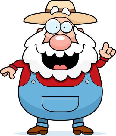 A happy cartoon farmer with an idea. Иллюстрация