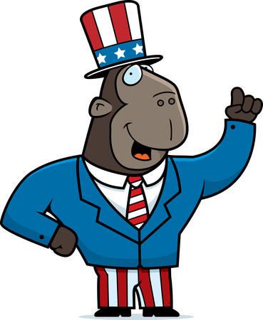 A happy cartoon ape in a patriotic suit. Illustration