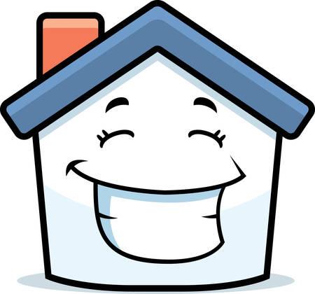A cartoon little house smiling and happy. Illusztráció