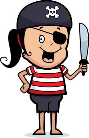 Een gelukkig cartoon piraat meisje met een zwaard. Stock Illustratie