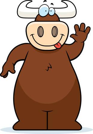 手を振ると笑顔幸せ漫画牛。  イラスト・ベクター素材