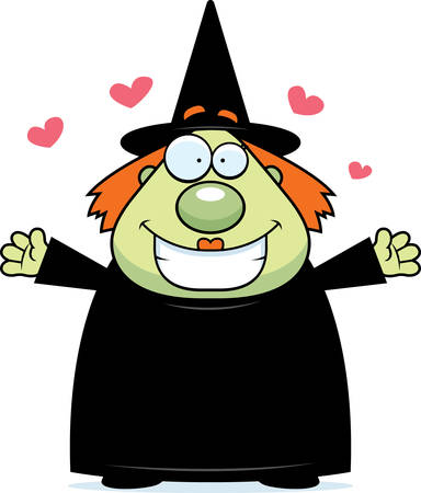 A happy cartoon witch ready to give a hug.