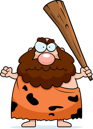 A cartoon caveman looking angry with a club. Illustration
