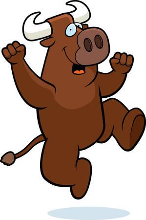 幸せな漫画牛ジャンプと笑顔します。