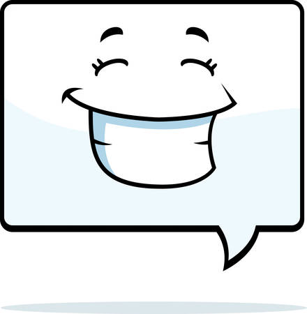 word bubble: A cartoon word bubble happy and smiling.
