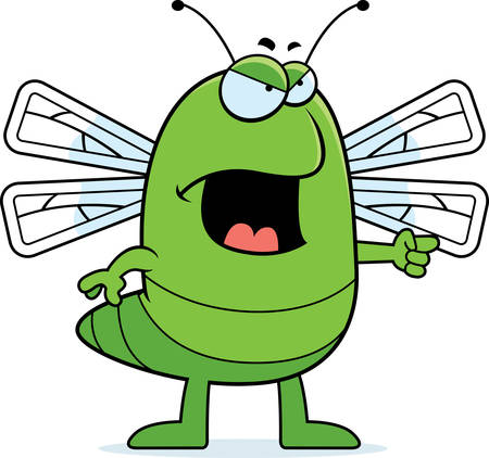 cartoon bug: A cartoon dragonfly with an angry expression.