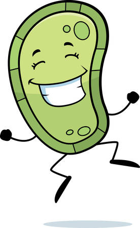 bacteria cartoon: A happy cartoon germ jumping and smiling.