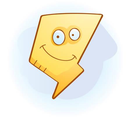 blitz symbol: Ein Cartoon-Blitz l�chelnd und gl�cklich. Illustration