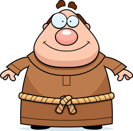 A happy cartoon monk standing and smiling.