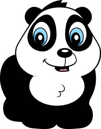 panda cub: Una caricatura beb� panda oso cachorro sonriente y feliz.